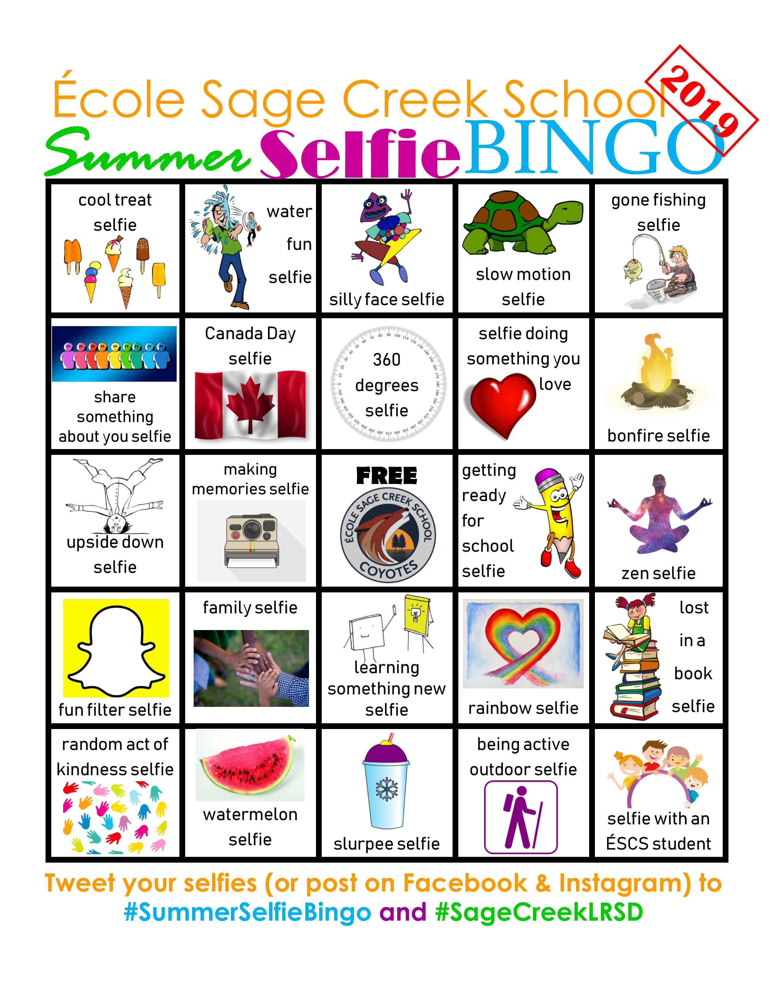SCS Summer Selfie Bingo 2019